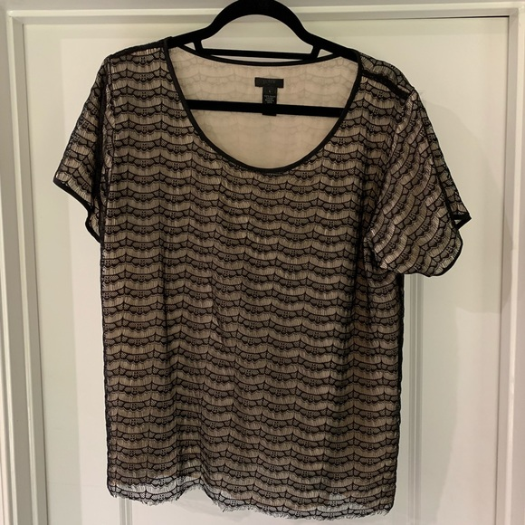 J. Crew Tops - J. Crew black and cream lacy short sleeved top